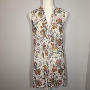 CAbi Split Neck Floral Cotton/Silk Tunic - M